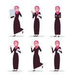 Set of business arab woman character with hijab. flat character Royalty Free Stock Photo