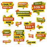 Set business autumn price labels with colored leafs Stock Images