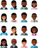 Set of business avatar african american peoples in flat style. Occupation avatars of different manager man and woman Stock Images