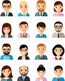 Set of business avatar european peoples in flat style. Occupation avatars of different manager man and woman Royalty Free Stock Photography