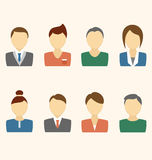 Set of business avatar office employees on beige Royalty Free Stock Image