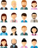 Set of business avatar peoples in flat colorful style. Occupation avatars of different manager man and woman Royalty Free Stock Photos
