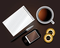 Set of Business backgrounds. Including pen mobile notepad and cup of tea Stock Image