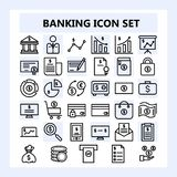 Set of 30 Business, Banking and Finance Icon in Outline style, royalty free illustration