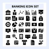Set of 30 Business, Banking and Finance Icon in Solid or Glyph style,. Pixel perfect vector illustration using 96 pixel size for web development and stock illustration