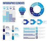 Set of business blue infographic elements. Template for presentation, chart, graph. Vector illustration. Royalty Free Stock Images
