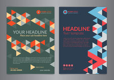 Set A4 Business brochure flyer design layout template with triangle pattern. Leaflet cover presentation, Modern Backgrounds. Vector illustration Stock Photos