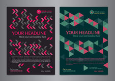 Set A5, A4 Business brochure flyer design layout template with zigzag and triangle pattern. Leaflet cover presentation. Set A5, A4 Business brochure flyer vector illustration