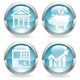 Set Business Buttons. Set Buttons with Financial Business Icon - Bank, ATM, Piggy Bank and Graph Symbol, vector illustration Stock Photo
