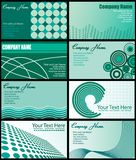 Set of Business Card Designs. Vector illustration of eight business card designs in shades of green Stock Photography