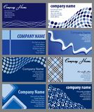 Set of Business Card Designs. Vector illustration of eight business card designs in shades of blue Stock Photo