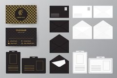 Set of business card with envelope and badge. Personal style col. Personal style collection. Vector illustration design for business and personal use. Set of Stock Images