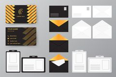 Set of business card with envelope and badge. Personal style col. Personal style collection. Vector illustration design for business and personal use. Set of Stock Image