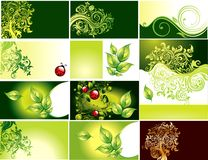Set business card with green foliage vector illustration