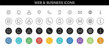 Set of Business Card icons. Name, phone, mobile, location, place, mail, fax, web. Contact us, information, communication. Vector