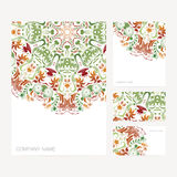 Set of business card and invitation card templates with floral o Stock Image