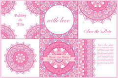 Set of business card and invitation card templates with lace ornament. Stock Photography