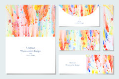 Set of business card. And invitation card templates with abstract watercolor background. Abstract hand drawn watercolor banner. Vector illustration stock illustration