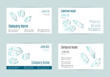 Set of business card templates. Collection of business cards with geometric outline shapes of crystals and minerals.  Line style  on white background. Trendy Stock Image