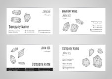 Set of business card templates. Collection of business card templates with geometric polygonal crystals, minerals.  Flat style design elements isolated on white Royalty Free Stock Photos