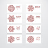 Set of business card templates mehndi design. Set of business card templates. Vintage decorative round patterns. Indian, arabic ornaments. Mandala. Mehndi henna Stock Photo