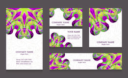 Set of business cards and banners. Vintage ornament with swirls in east style. Design for greeting card, invitation, certificate, gift, Free place for your vector illustration