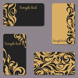 Set of business Cards. Beauty designs. Vintage cards Stock Photo