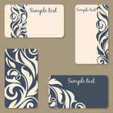 Set of business Cards. Beauty designs. Vintage invitation Royalty Free Stock Images