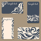 Set of business Cards. Beauty designs. Vintage invitation. Royalty Free Stock Photography