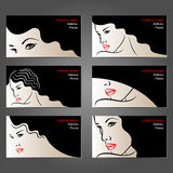 Set of business cards for beauty and hair salons, Stock Images