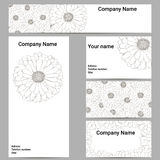 Set of business cards. Black and white flower. Royalty Free Stock Images