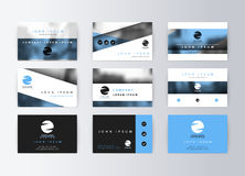 Set of business cards, blue background. Template information card Stock Photo