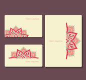 Set of business cards and brochures with  round ornament. Business cards and brochures with hand drawn mandala Royalty Free Stock Photography