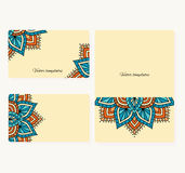 Set of business cards and brochures  with  round ornament with round ornament. Stock Photography