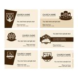 A set of business cards of the church, a ministry or mission, a club or camp, using a creative logo. stock illustration
