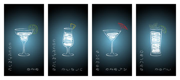 Set of business cards for cocktail bar. Royalty Free Stock Photography