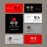Set of business cards, couple in love together Stock Image