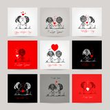 Set of business cards, couple in love together. Vector illustration Stock Photo
