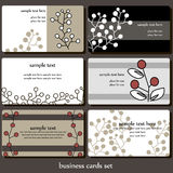 Set of business cards design. Vector set of business cards design with twigs royalty free illustration