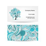 Set of business cards design with art tree Stock Images