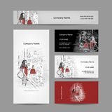 Set of business cards design, girl near the. Storefront. Vector illustration vector illustration