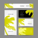 Set of business cards design, palm tree Stock Photo