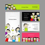 Set of business cards design with party girls Royalty Free Stock Photo