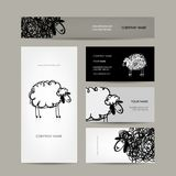 Set of business cards design, sheep sketch Royalty Free Stock Photo