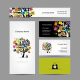 Set of business cards design, shopping tree with Royalty Free Stock Image