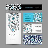 Set of business cards design, turkish ornament Royalty Free Stock Photo
