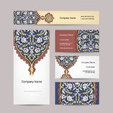 Set of business cards design, turkish ornament Royalty Free Stock Photography