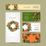 Set of business cards design with vegetable frame Royalty Free Stock Photos