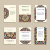 Set of business cards. For design. Vintage template colorful circular pattern. Colored vector illustration for corporate identity, individual cards, form style Stock Photography