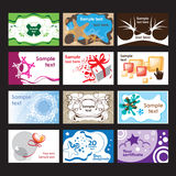 Set of business cards on different  topics Royalty Free Stock Image